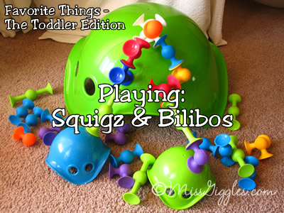 Random Giggles | Favorite Things - The Toddler Edition, Playing with Squigz & Bilibos
