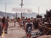 Dad pushing me across the finish line 1979